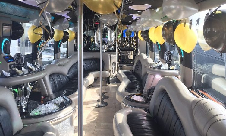 birthday party bus rental interior