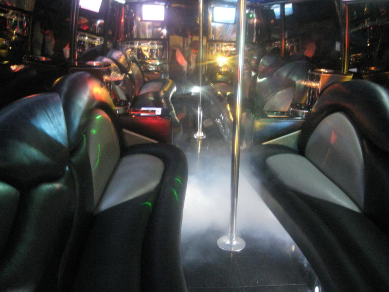 Party Bus Rental Interior with Fog Machine - Fits 44 Passengers