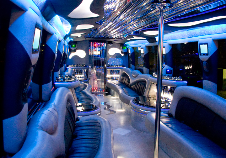 44 Passenger VIP Party Bus Rental Interior